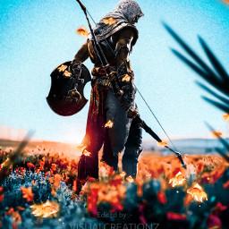 followmeplease warrior assassinscreed hunter bow arrow tulip flowers nature colourful orange red green blue sky madewithpicsart followme freetoedit