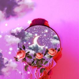 freetoedit madewithpicsart moon space galaxy aestheticedit replay sky picsart picsartedit heypicsart papicks flower girls girl makeawesome art stars star purple blue