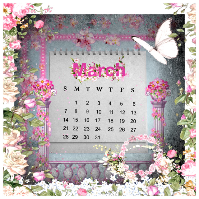 #marchcalendar #pink #roses #shabbychic #butterfly #beautiful
