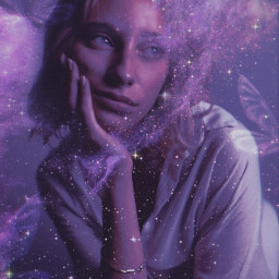 aesthetic galaxy stars edit replay glitter glittercloud butterfly dress purple strawberry sparkle freetoedit unsplash