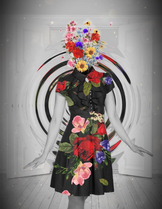 #flower #flowers #dress #blackandwhite #grey #colorpop #color #colors #colorful #art #interesting #edit #headless #headlesswoman #woman #women #girl #girls #lady #person #people #doorway #door #pose #posing #srcflowerpower #flowerpower #freetoedit