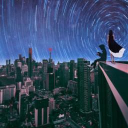 freetoedit remixed picsart picsarttool myedit editedbyme surreal surrealedit citynight woman planet sky astronaut moon stars lights heypicsart