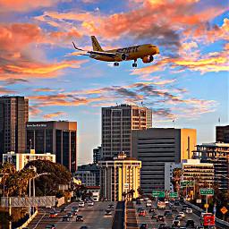 plane edit picture sunset city airiplane