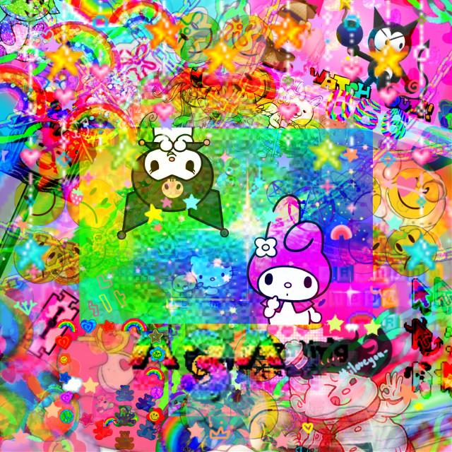 #saturatededit #freetoedit #sanrio #kidcore #mymelody #kuromi #teruteruhanamura #rainbows #rainbow