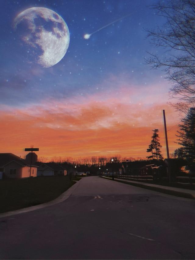 #freetoedit #fullmoon #moon #shootingstars #sky #sunset #nightsky #clouds #photography #stars #trees #madewithpicsart #picsart