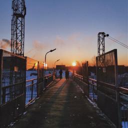 brindge railwaystation station industrial urban sunrise morning sun sky beautiful atmosphere people silhouettes filter picsart photo photography phone redminote9pro freetoedit
