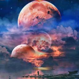 freetoedit picsart picsarttool myedit editedbyme surreal surrealedit sky planets lights woman man ship clouds silhouette heypicsart
