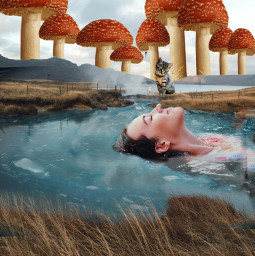 cringe photography photoshop unreal unrealistic aesthetic fairycore nature people cat swim mushroom landscape interesting art summer sea sky creak cringy funny aahhh girl manyphotos luciamoon freetoedit