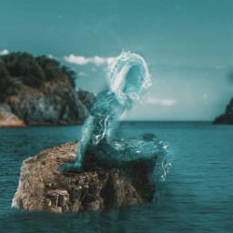 freetoedit surreal surrealart blueaesthetic sea mythology greekmythology fantasy picsartmaster sculpture aesthetic