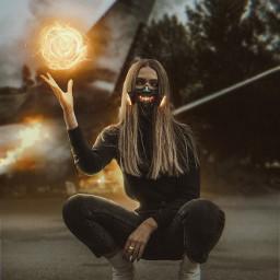 picsart freetoedit visualart fire power destroyed __prince_creation__ girl conceptart manipulation demon 365world
