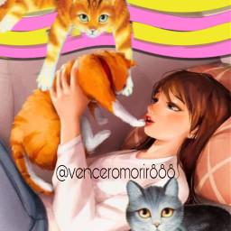 girl cats love eccolorfulwaves colorfulwaves freetoedit