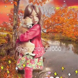 girl pet dog landscape love rcsoftpastelaesthetic freetoedit