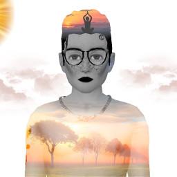 doubleexposure sunset meditation boeddha sundown trees avakinlife sun clouds freetoedit
