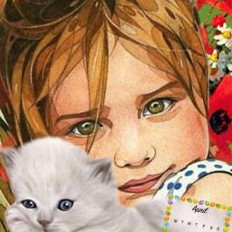 girl spring cat calendar april srcaprilcalendar2021 freetoedit