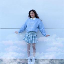 blue girl clouds skirt sparkles stickers remixme remix interesting freetoedit