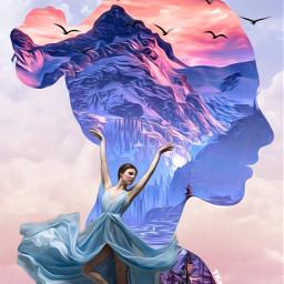 face girl clouds birds mountains dancer ballerina dancing madebyme madewithpicsart loveit freetoedit