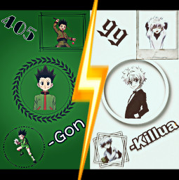 gon killua 99 405 hunterxhunter white weiß green grün blitz flash black schwarz gelb yellow circle kreis viereck hunter friends friend hunterprüfung freetoedit