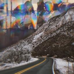 holographic hologram edit road desert kaleidoscope hippie trippy sky stayinspired vibes unsplash