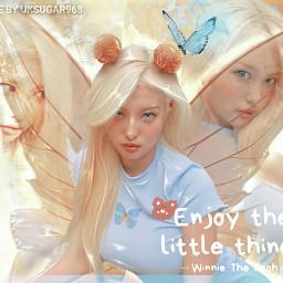 ahin momoland yellow blue kpopedit soft filter kpop teddy teddybear aesthetic light girl kpopidol blonde bear fairy wings korean singer     uksugar singer
