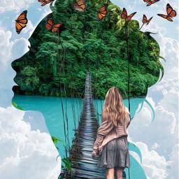 girl forest rainforest butterfly butterflies face shilouette walking clouds madebyme madewithpicsart loveit fcexpressyourself expressyourself