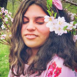 girl spring flowers blossoms peachblossoms lookingdown portrait pink peach fridakahlo freetoedit