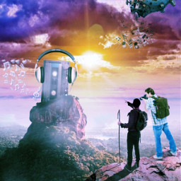 freetoedit picsart picsarttool myedit editedbyme surreal surrealedit hiking backpack sky clouds lights mans rock cassettetape notes ship headset a_ship_in_the_sky heypicsart
