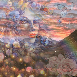 forest creative mountains landscape butterfly butterflies rainbow flowers roses face girl madebyme madewithpicsart loveit fcexpressyourself expressyourself