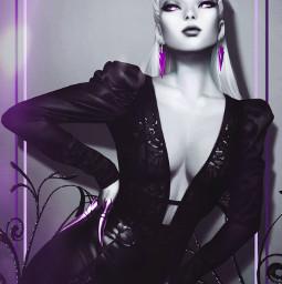 aesthetic kda leagueoflegends lol evelyn purple black gray model sparkle shine edit dark freetoedit