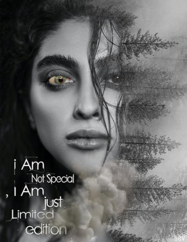 #freetoedit #blackandwhite #portrait #artisticselfie #forest #text #madewithpicsart #myedit