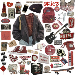aries zodiac zodiacsigns astrology aesthetic grunge redgrunge red freetoedit