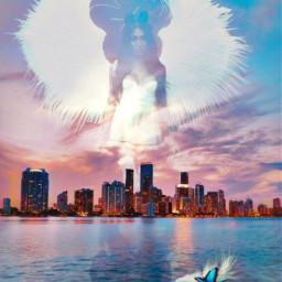 angel cityscape water lady woman feathers sky reflection butterfly pretty freetoedit