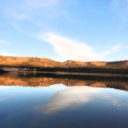reflection lake mountainscape cloud