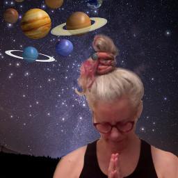 maturewoman greyhairwoman grayhairwoman planetsticker planetstickers planets nightsky anjalimudra freetoedit