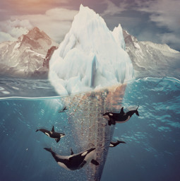 surreal surrealism surrealart icecream icecreamcone glacier mountains water ocean arctic antarctica orcas orcawhales whales sun sky clouds cold frozen ice art interesting sea nature beautiful freetoedit