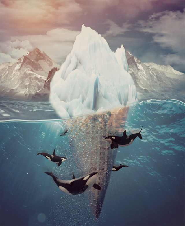#surreal #surrealism #surrealart #icecream #icecreamcone #glacier #mountains #water #ocean #arctic #antarctica #orcas #orcawhales #whales #sun #sky #clouds #cold #frozen #ice #art #interesting #sea #nature #beautiful