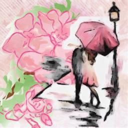 spring kiss umbrella freetoedit