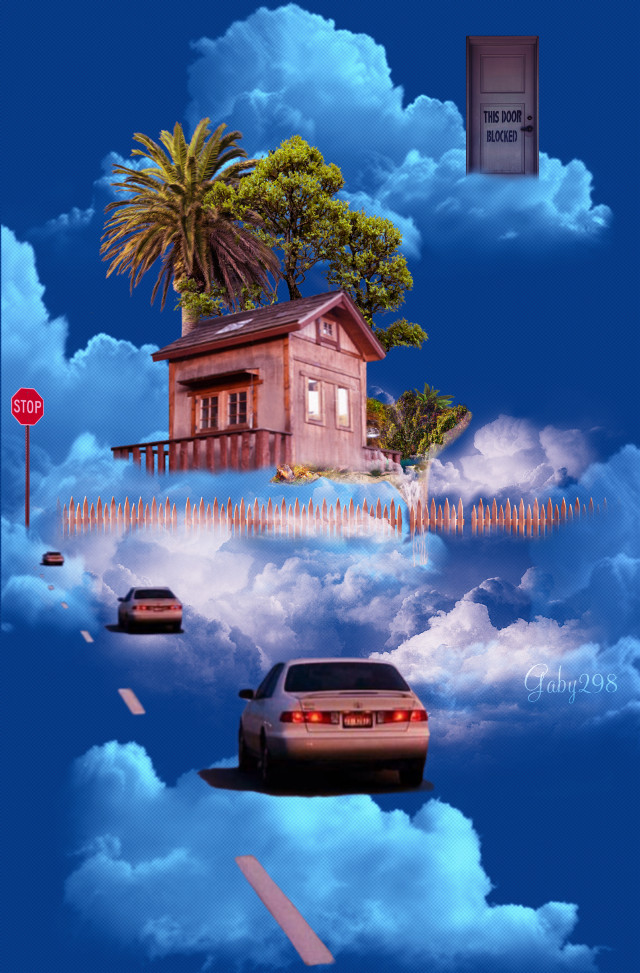 #Cielo #Nubes #Coches #Surreal #Casa #Palmeras #Irreal #Sky #Clouds #Cars #Road #Carretera #House #Palmtrees #Remixed ⤵️ ⤵️