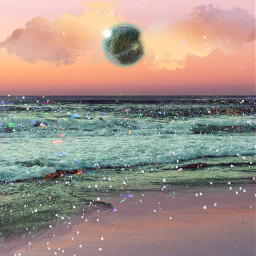 beach planet clouds stars sea ocean dream sky psychedelic beautiful colors heypicsart makeawesome vibes trippy