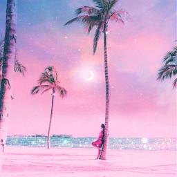 beach sky nature galaxy moon freetoedit