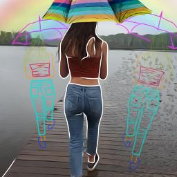 rainbow outlines transform umbrella rain freetoedit fcexpressyourself expressyourself