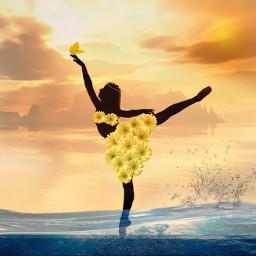 wet ballerina beach dancers flower yellow sea meer drops sunset sunlight ircballerinesilhouette ballerinesilhouette freetoedit