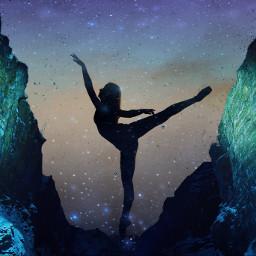 universe planet sky dark ballerina stone wall light night nightsky moonlight ircballerinesilhouette ballerinesilhouette freetoedit