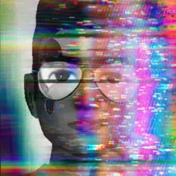 glitch glitcheffect rainbow collors blackandwhite freetoedit