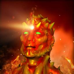 fireelemental 3d render caveman sculpting