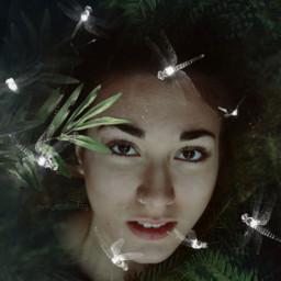 freetoedit woman leaves nature beauty