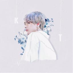 v kimtaehyung bts army taehyung edit btsedit freetoedit vhopeyy vhopeyyedit handsome cute blue white flowers frame effect