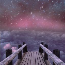 stars clouds pinkclouds night freetoedit