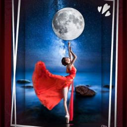 ballerina moon ballet night woman lady pretty sky water sea ocean stars freetoedit
