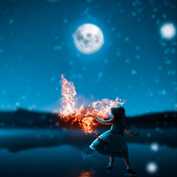 followmeplease butterfly glowing fire flame blur blue orange yellow purple girl child moon snow snowfall lake wallpaper reflection ripples water followme freetoedit