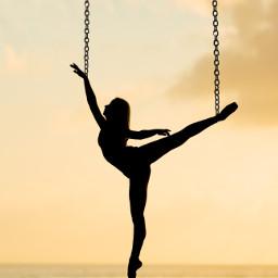 chain chains ice hang hanging fall falling ballerina dance dancing silhouette black dark bright sky high freetoedit
